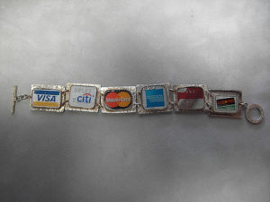 bracelet made with credit card charms
