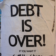 Debt is over text on white background