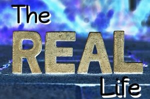 text the real life with blue cloud background