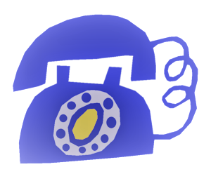 animated blue rotary phone